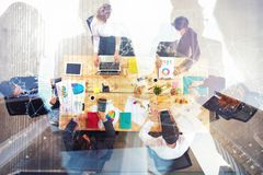 Business people work together in office. Concept of teamwork and partnership. double exposure stock photos