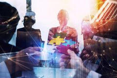 Business people work together in office. Concept of teamwork and partnership. double exposure with network effects stock image