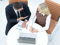 Business people at work. Two business people in formalwear discu Royalty Free Stock Photo