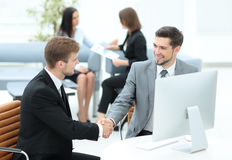 Business people at work. Two business people in formalwear shaki Stock Photo