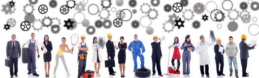 Business people workers group. Group of industrial workers,workers physician and bussines people stock image