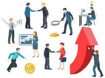 business people working Επίπεδο διανυσματικό σύνολο εικονιδίων Στοκ Φωτογραφίες
