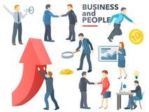 business people working Επιχειρησιακή διαδικασία Συνομιλία, συναλλαγές, δημόσιες σχέσεις, νέες ιδέες, παρουσίαση, αναζήτηση ενός  διανυσματική απεικόνιση