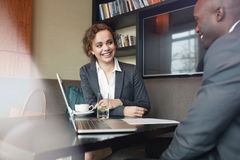 Business people working in cafe Stock Photos