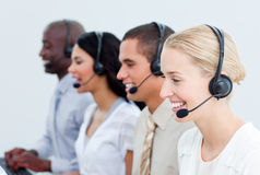 Business people working in a call center Stock Images