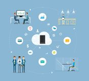 Business people working collaboration on big data concept Royalty Free Stock Image