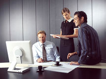 Business people working on computer Royalty Free Stock Photo