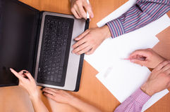 Business people working on document , focus of hands on paper Royalty Free Stock Photo