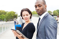 Business people working with electronic tablet Stock Photos
