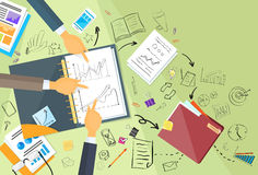 Business People Working Finance Graph Sketch Desk. Top View Web Banner Flat Vector Illustration Stock Photography