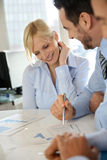 Cheerful businesswoman with workteam Royalty Free Stock Photos