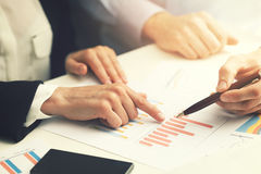 Business people working with financial report data analysis. At office Royalty Free Stock Photo