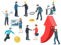Business people working. Flat icons vector set. Stock Photos