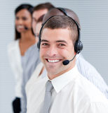 Business people working with headset on Stock Images