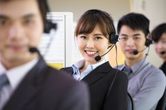 Business people working with headset in office stock photo