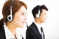 Business people working with headset in office Royalty Free Stock Images