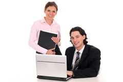 Business people working on laptop Royalty Free Stock Image