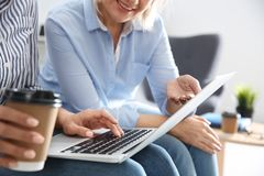 Business people working on laptop. Professional communication. Business people working on laptop in office, closeup. Professional communication stock images