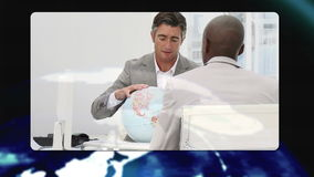 Business people working during meetings with Earth image courtesy of Nasa.org Stock Images