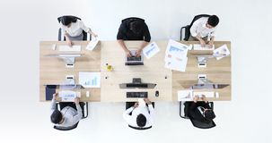 6 business people working, in modern office. stock footage