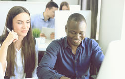 Business people working on new project at modern office. Royalty Free Stock Photography