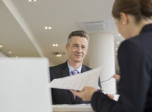 Business people working in office cafeteria Royalty Free Stock Image