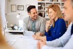 Business people working in office. And collaborating Royalty Free Stock Photo