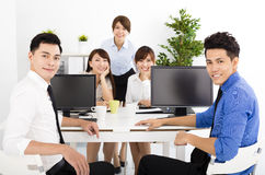Business people working in the office. Happy business people working in the office Royalty Free Stock Image