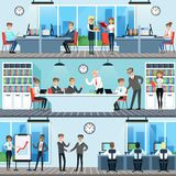 Business people working in office set, men and women  Stock Photos