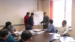 Business people working. Teacher helping students training, group of students study with professor in modern school classroom stock video footage