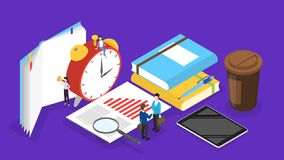 Business people working in team and plannnig time. Business people working in team and planning. Time management and strategy concept. Making a week schedule royalty free illustration
