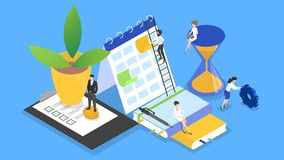 Business people working in team and plannnig time. Business people working in team and planning. Time management concept. Making a week schedule. Vector vector illustration
