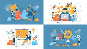 Business people working in the team set royalty free illustration