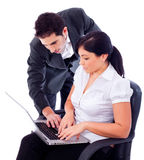 Business people working together. With laptop on a white isolated backgroung Royalty Free Stock Image