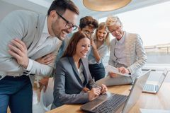 Business people working together as a team stock image