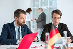 Business people working together. The business people working together at table. The meeting or summit concept Stock Photography