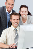 Business people working together with a computer Stock Photo