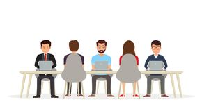 Business people working together at the desk using a laptop. Business meeting or coworking royalty free illustration