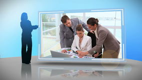 Business people working together on different devices Stock Photo
