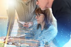 Business people working together; multiple exposure stock image