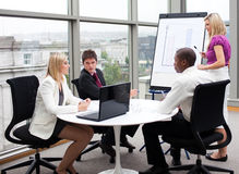 Business people working together in an office royalty free stock images