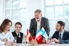 Business people working together. The business people working together at table. The meeting or summit concept Royalty Free Stock Image