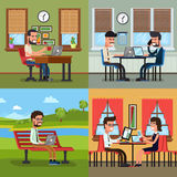 Business people working in various workplace Stock Photos