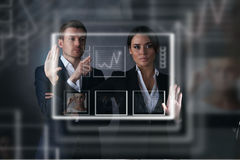 Business people working with virtual display Royalty Free Stock Images