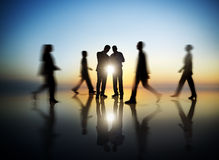Business People Working and Walking Outdoors Royalty Free Stock Photo