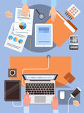 Business People Workplace Desk Hands Working Laptop And Tablet Computer Top Angle View Office. Flat Vector Illustration Royalty Free Stock Photo