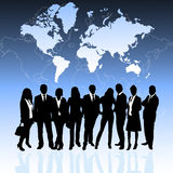 Business people and world map Stock Photo