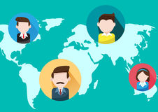 Business people  world map. Global Communications and business people  on world map Royalty Free Stock Images