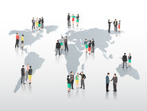 Business people on world map Stock Photos