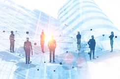 Business people on world map network in city royalty free stock photography